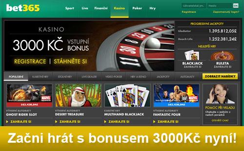 Začni hrát u casina bet365 s bonusem 3000Kč!