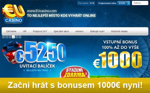Začít hrát v EU Casinu a získat bonus 1000€ nyní!