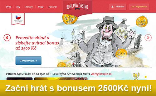 Začni hrát s bonusem 2500Kč u Bohemia Casino!