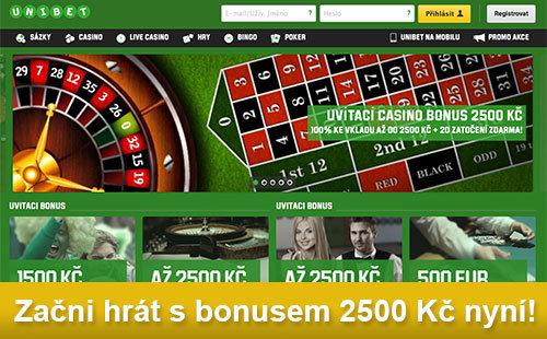 Casino Bonus 2500Kč u Unibetu