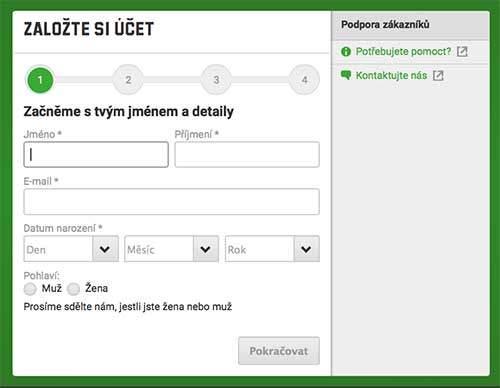 Registrácia na Unibet
