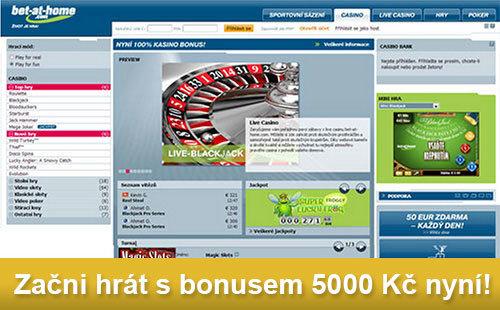 Začni hrát s bonusem 5000Kč u Casina Bet-at-home
