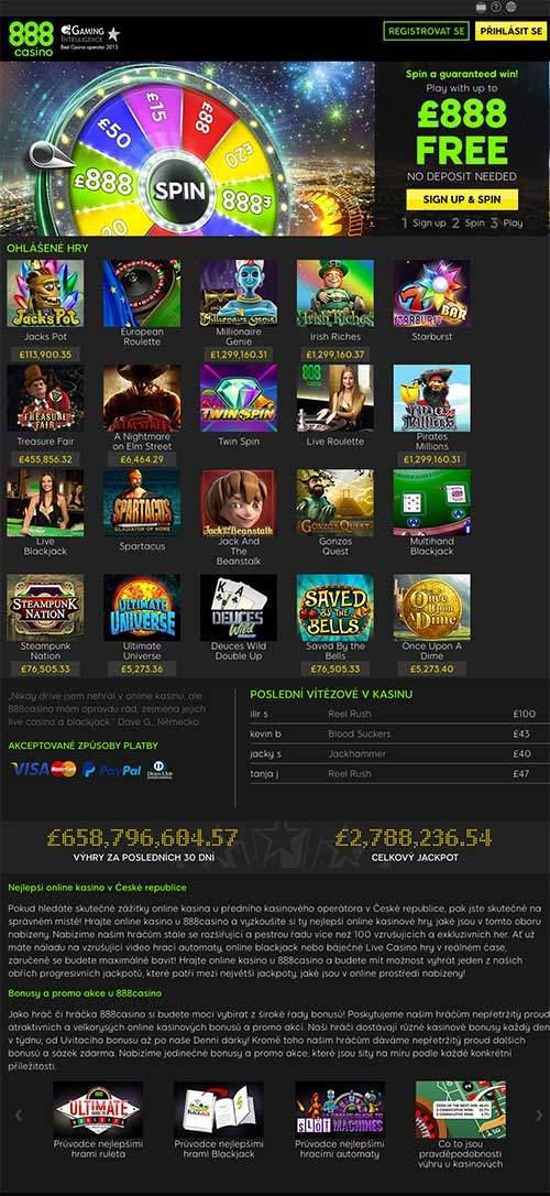 Získej bonus u 888 Casino
