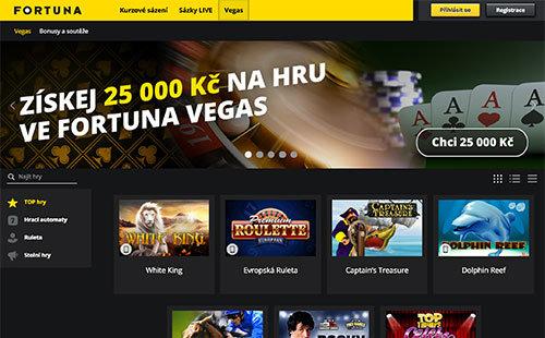 Fortuna Vegas Casino - Bonus až do výše 25000Kč