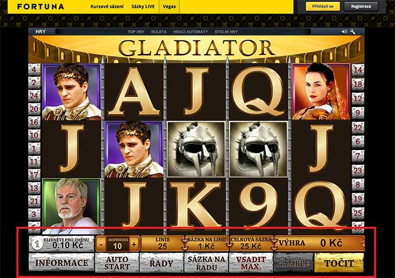 hrací automat Gladiator u Fortuna Casino