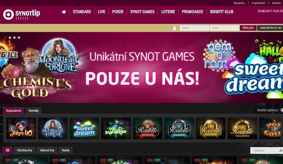 SynotTIP Casino – hrajte Synot hrací automaty online